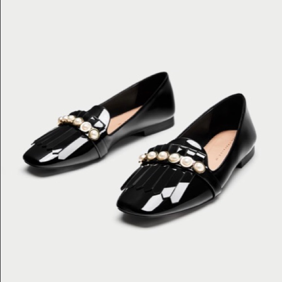 5e86b7728d4 ZARA penny loafers with pearls 38
